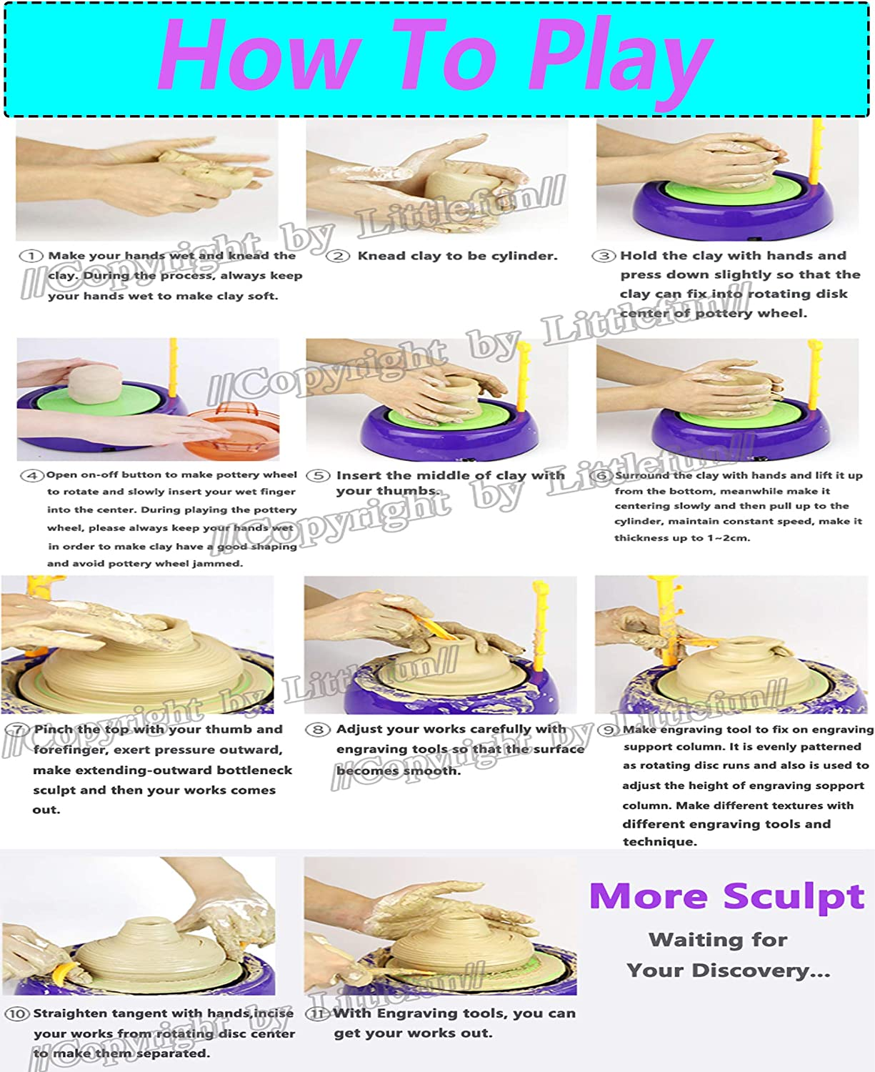 LITTLEFUN Art Pottery Artist Studio Spin Clay Pottery Wheel Game Craft Kit DIY Educational Toy for Kids Age 6 and Up Purple