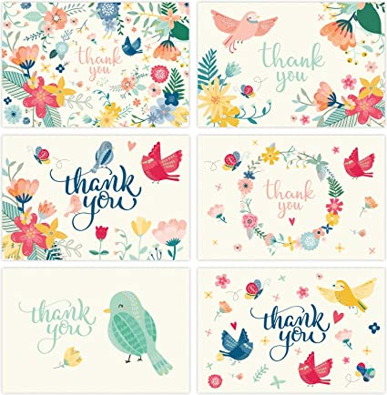 Amazon thank you cards 36 assorted floral blank thank you thank you cards 36 assorted floral blank thank you notes with envelopes gold reheart Choice Image
