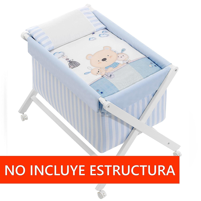 Minicuna mibebestore Plegable Blanco//Azul Osito: Estructura Vestidura Colch/ón Almohada Colcha Desenfuntable