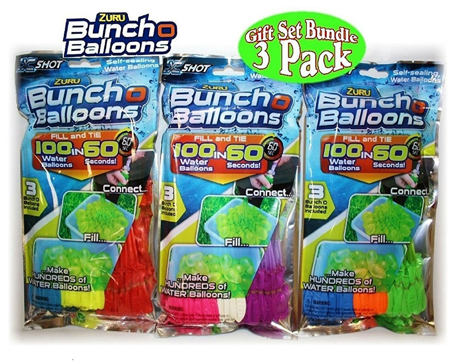 Zuru Bunch O Balloons Instant 100 Self-Sealing Water Balloons Complete Gift Set Bundle, 3 Piece (300 Balloons Total) ch-balloon01