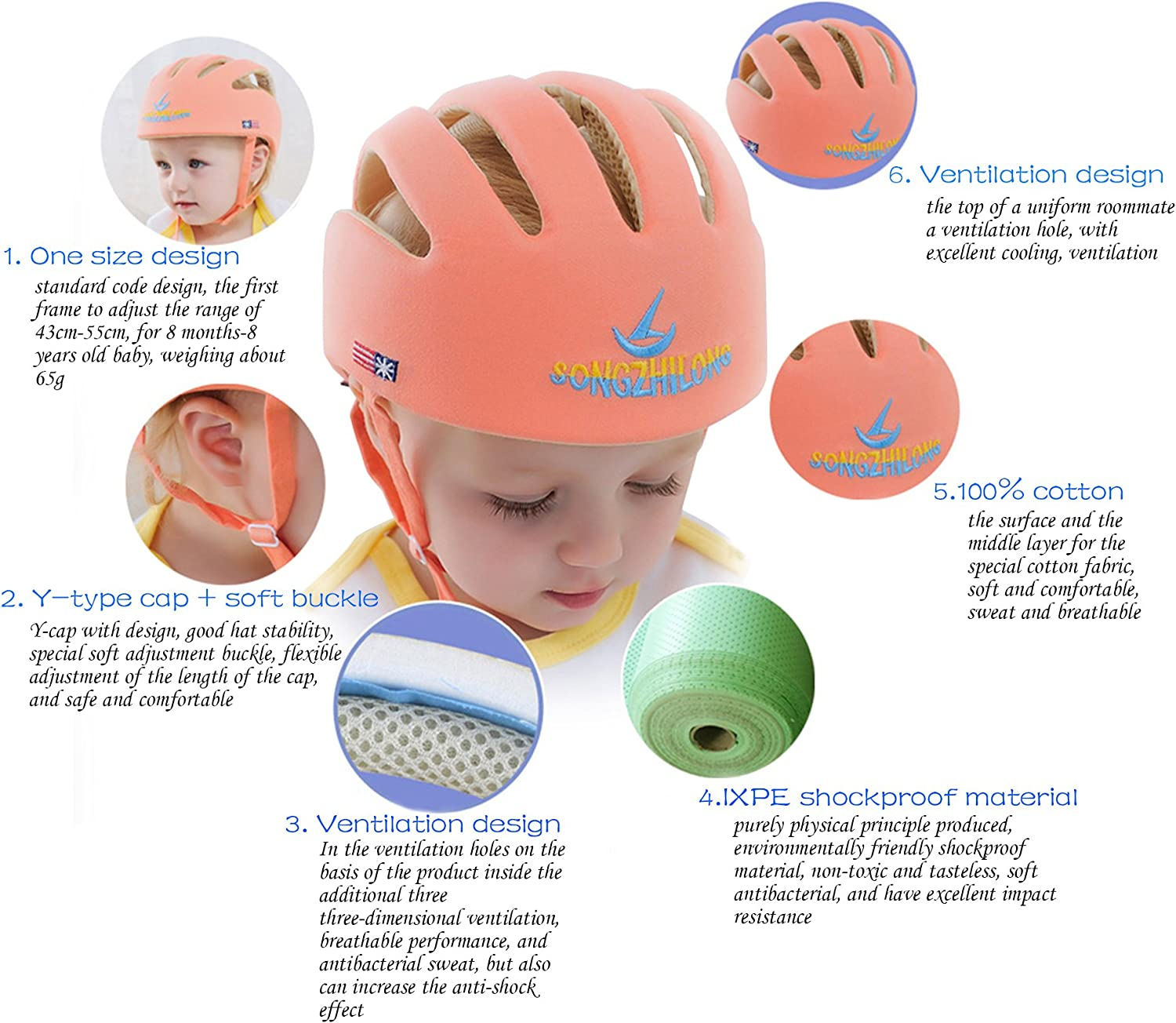 Homieco/™ Infant Baby Adjustable Safety Helmet Headguard Protective Harnesses Hat Orange