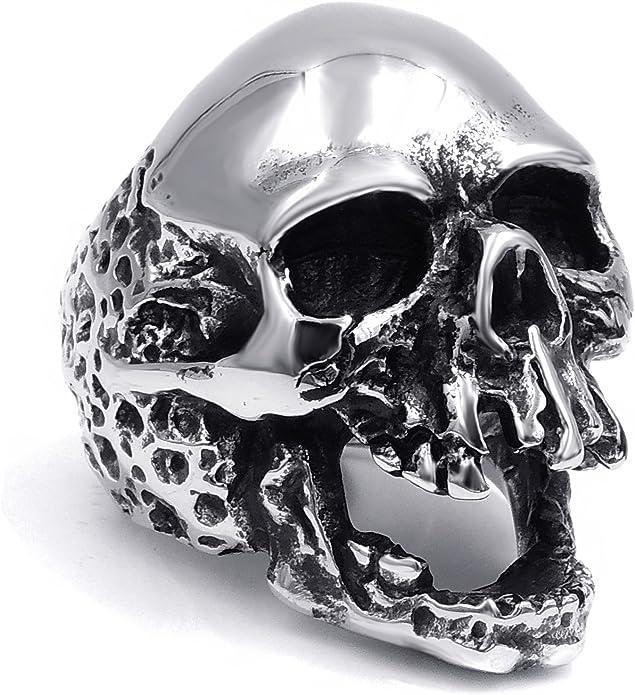 Polished Silver Skull Ring Stainless Steel Harley Biker  Multiple Sizes
