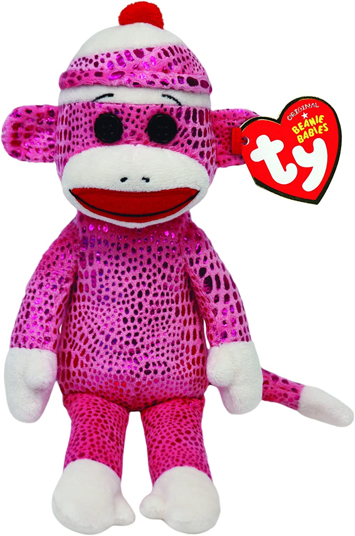 Ty Beanie Babies Sock Monkey Pink Sparkle Plush 41030