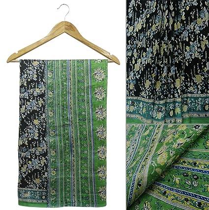 India Vintage Saree pura seda negro floral impreso vestido haciendo sari sari deco