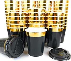 Gold Rim 12oz Double Wall Coffee Cups 40pcs + 10pcs bonus - Disposable Paper Cup with Lids - Insulated black design to go for hot beverage - Multi-purpose Leak Proof Container – ELEGANT GOLD DESIGN