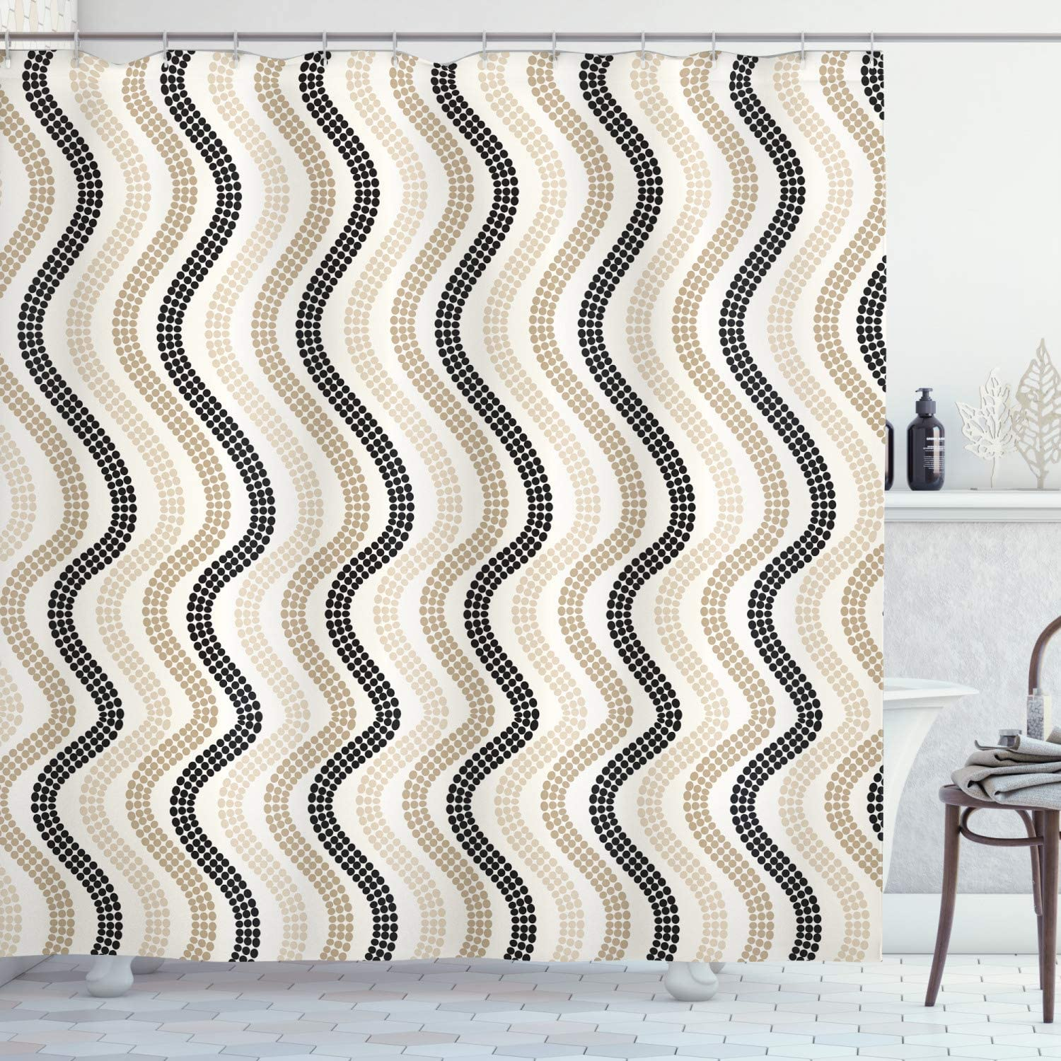 Lunarable Cream Shower Curtain, Vertical Wavy Lines with Polka Dots Color Shade Abstract Retro Repeating Pattern, Cloth Fabric Bathroom Decor Set with Hooks, 75