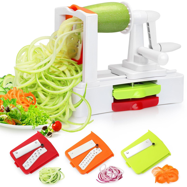 Folksmate Spiralizer Vegetable Slicer, Vegetable Spiralizer with Strong Stainless Steel Spiral 3-Blade, Best Veggie Pasta Spaghetti Make for Low Carb / Paleo / Gluten-Free