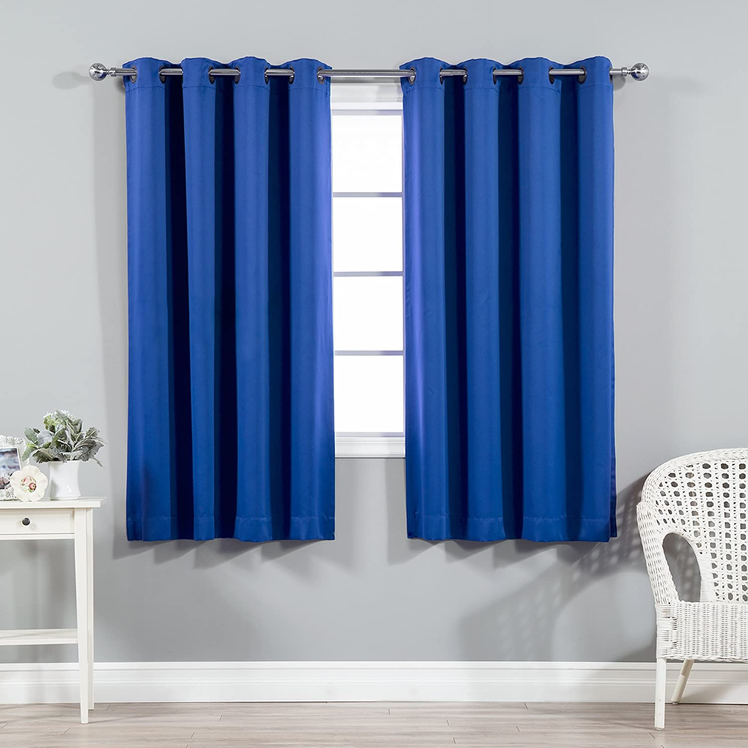 Best Home Fashion Thermal Insulated Blackout Curtains - Antique Bronze Grommet Top - Royal Blue