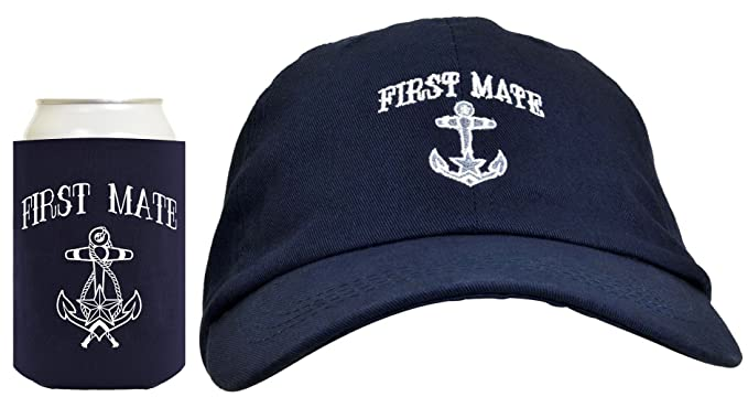 039f6508aeace Funny Sailing First Mate Hat Embroidered Cap Funny Beer Coolie Can Cooler  Gift Set Bundle Navy