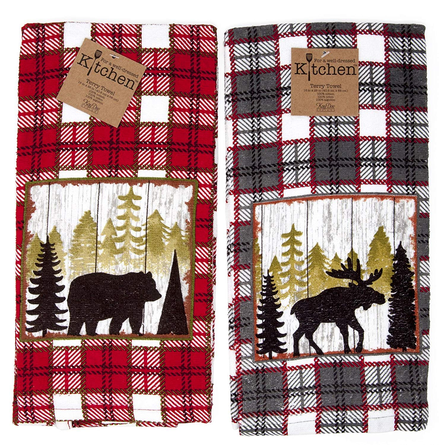 Kay Dee Kitchen Terry Towels 2pc Set Cabin Moose Bear Mountain Life Value Set