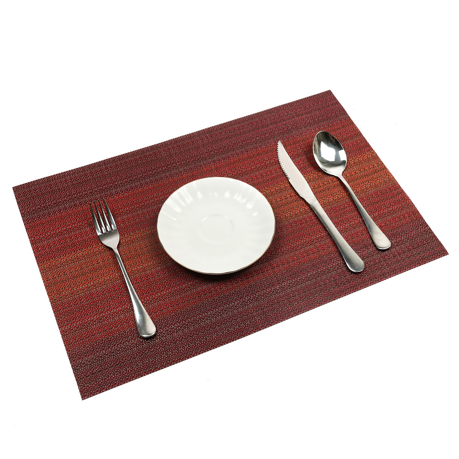 PAUWER Placemats Set of 6 Heat Insulation Stain Resistant Placemat for Dining Table Durable Crossweave Woven Vinyl Kitchen Table Mats Placemat (Red) by Pauwer (Image #2)