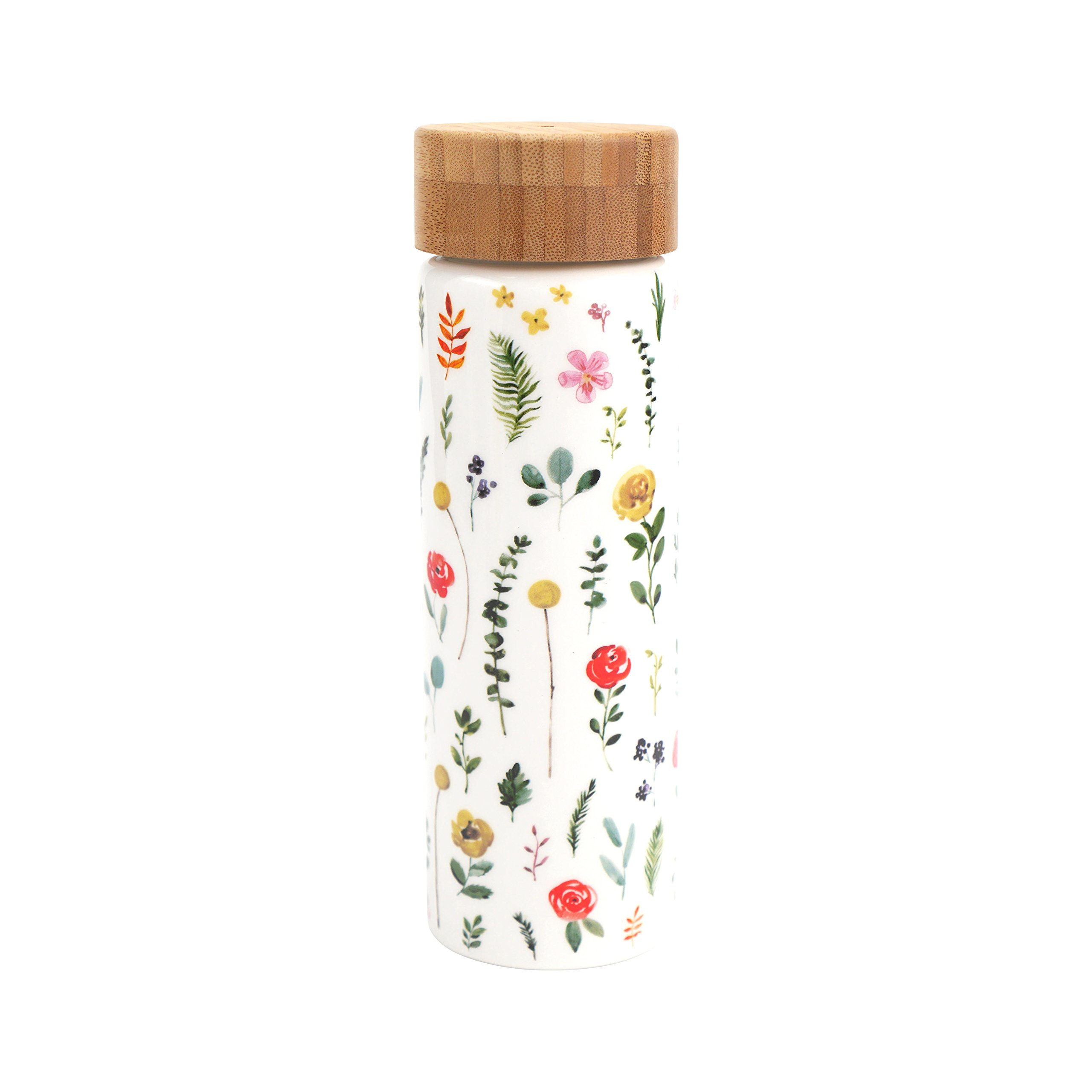 Hallmark Home Floral Ceramic Water Bottle