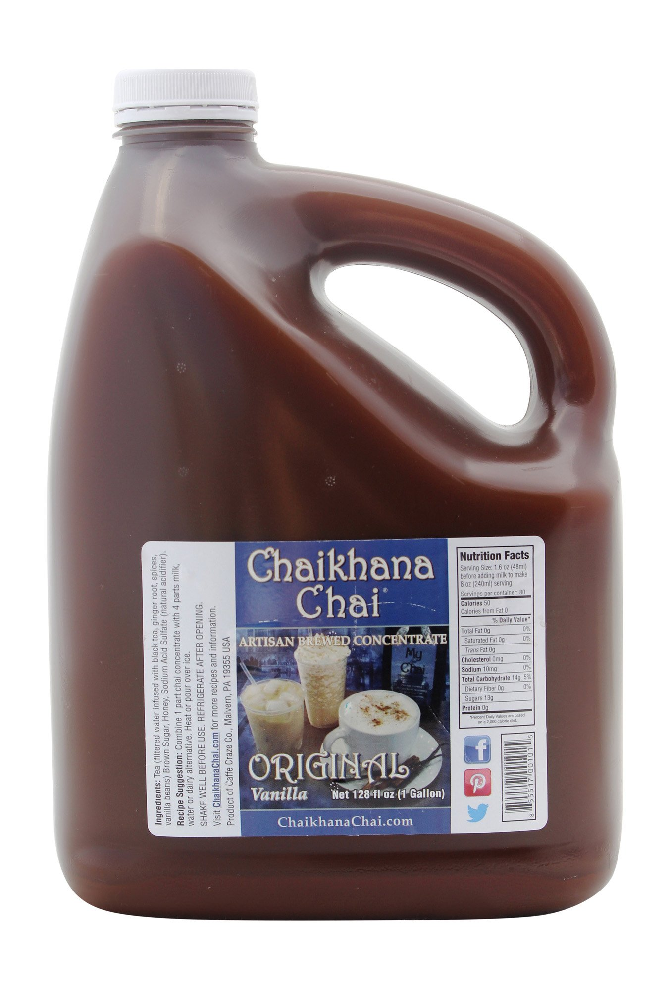 Chaikhana Chai - Original Vanilla Chai Concentrate - Slow Brewed with Organic Black Tea, Real Vanilla Beans and Fresh Crushed Spices - 1 Gallon - Makes (80) 8 oz. Drinks - For Home Use and Restaurants