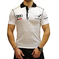 OTO-MOTO Audi Quattro Polo T-Shirt Collier Logo Broderie Embroidery EMBROIDÉ BRODÉ Blanc en Coton Peigné RS S-Line