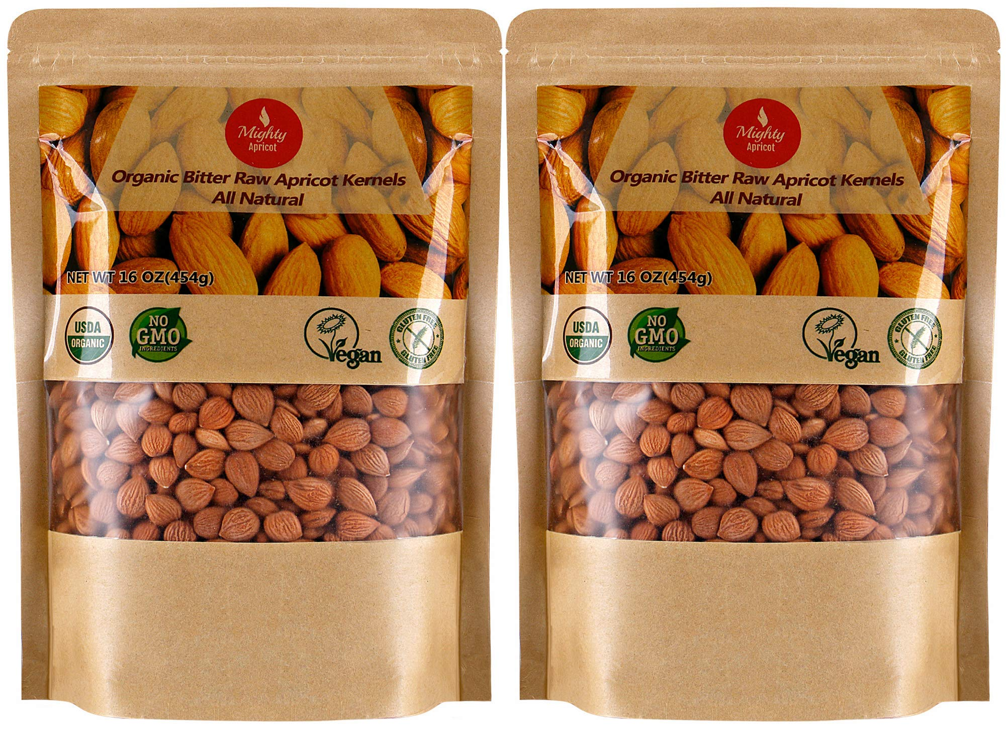 Organic Bitter Apricot Kernels(1LB) 16oz, Natural Raw USDA Organic Bitter Apricot Seeds, Vegan, Non-GMO, Gluten Free, Great source of Vitamin B17 and B15 (2 Pack) by Mighty Apricot (Image #1)