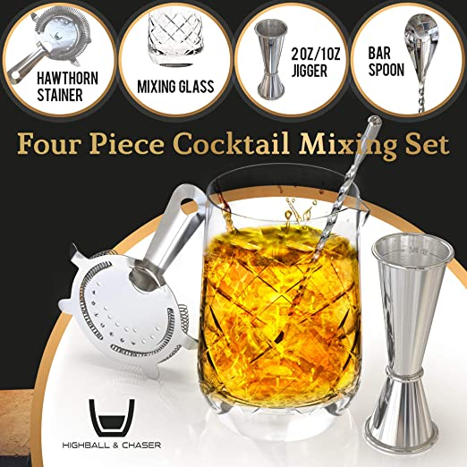 2oz//1oz Jigger with measurements Highball /& Chaser Lead Free Crystal Cocktail Mixing Glass 3 piece Bar Tool Set Online Cocktail Recipe E-Book and High Density Hawthorne Strainer