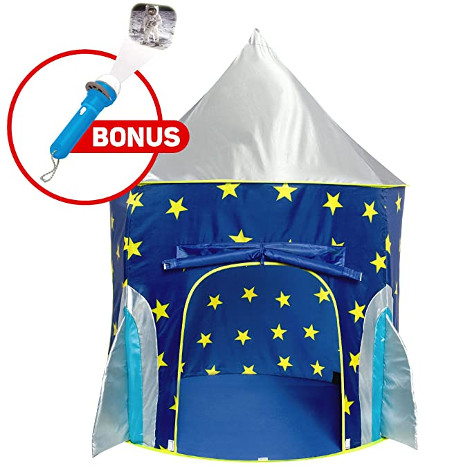 Play Tent for Boys or Girls – Rocket Ship Kids Tent, Astronaut Space Tents w/ Projector Toy, Outdoor Indoor Spaceship Play Tent for Kids or Toddlers