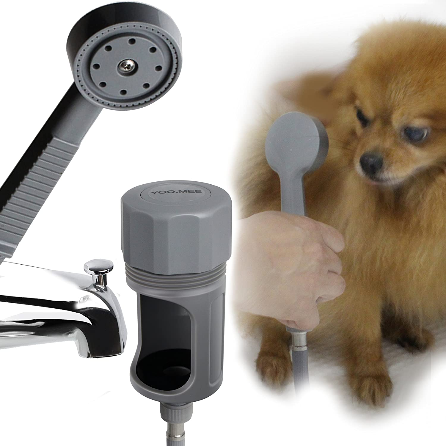 YOO.MEE Pets Shower Attachment for In Door/Out Door/Tub Spout Quick Connect, Easy and Fast Ideal for Bathing Child, Washing Pets and Cleaning Tub