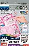エーワン マルチカード 名刺用紙 透明ピンク ツヤ消し フチまで印刷 30枚分 51643