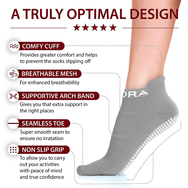 Perfect for Pilates, Yoga, Barre, Dance, Martial Arts, Trampoline, Fitness, Hospital, Rehab, Home /& Body Balance 2 Pairs Non Slip Anti Skid Grip Socks