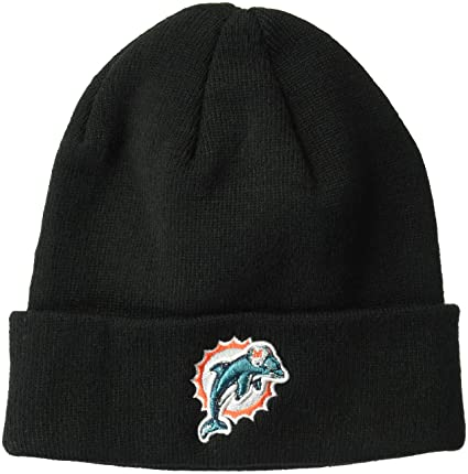 5368b2dc2ac Amazon.com   OTS NFL Miami Dolphins Male Raised Cuff Knit Cap
