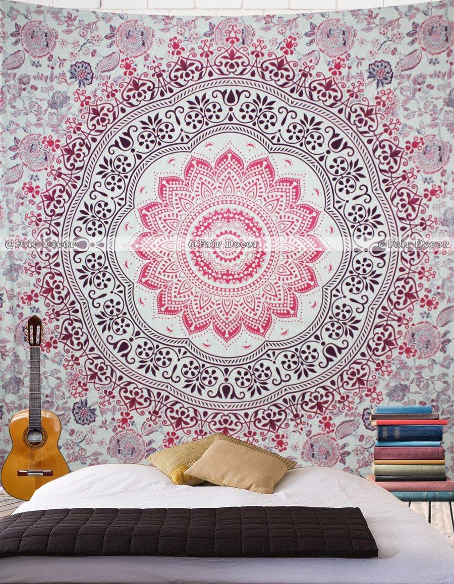 fairdecor Pink Purple Ombre Mandala Bohemian Tapestry Wall Drom Decor Bedspread Tapestries