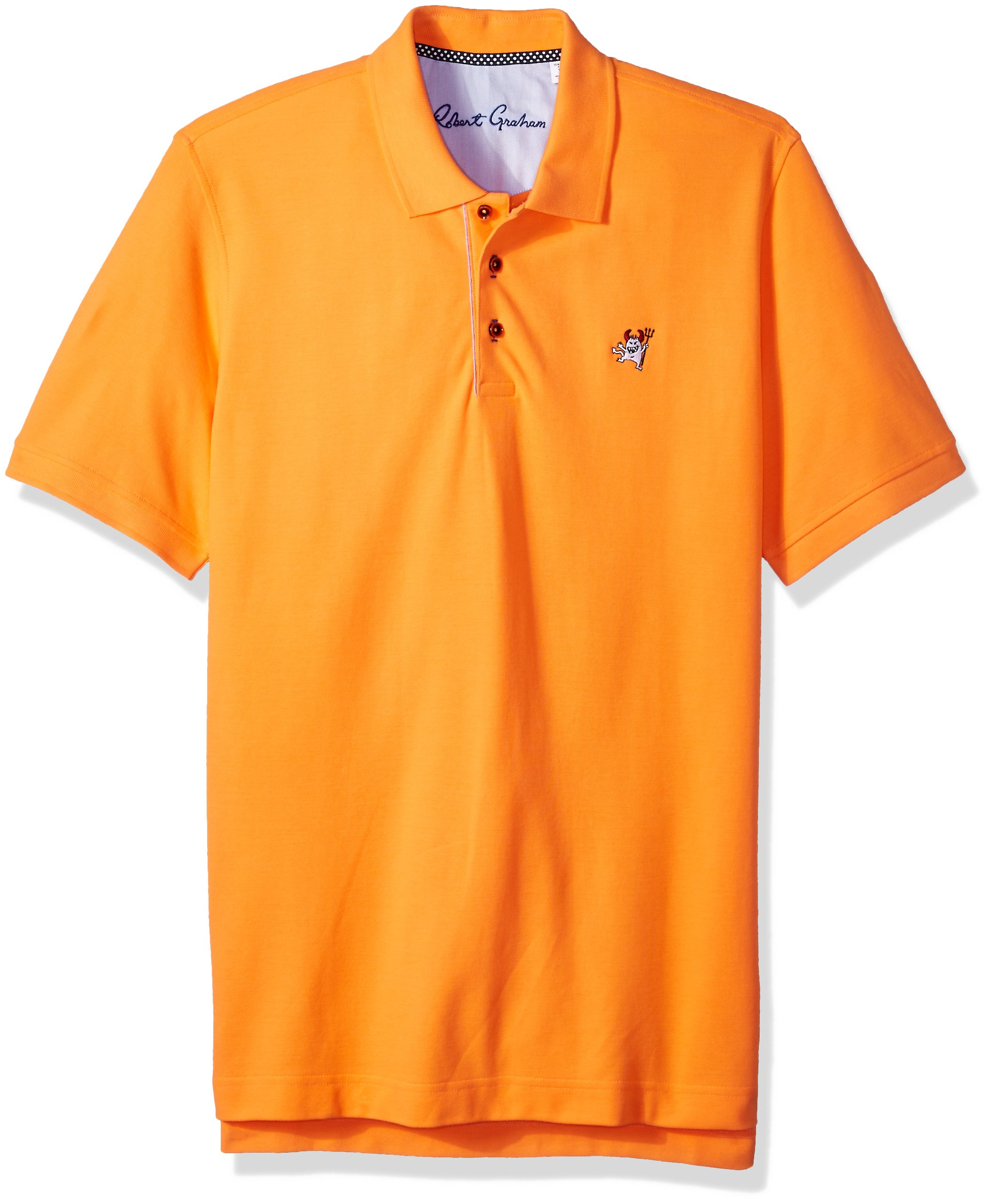 Robert Graham Men's Short Sleeve Pima Cotton Devil Polo, Orange, XLarge