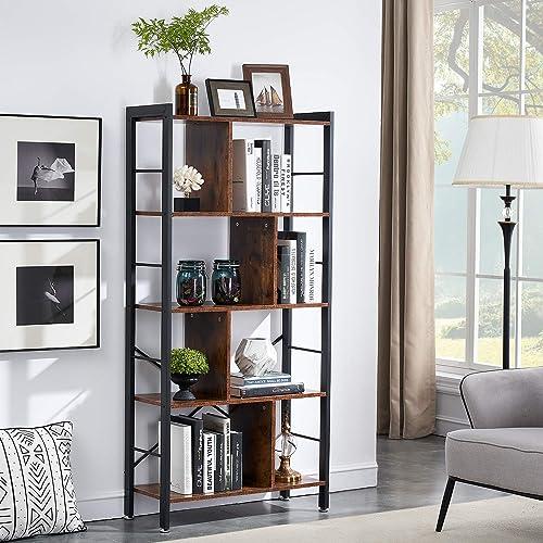 VECELO 61″ Bookshelf 4-Tier Industrial Bookcases/Display Shelf/Floor Standing Storage Rack/Cabinet