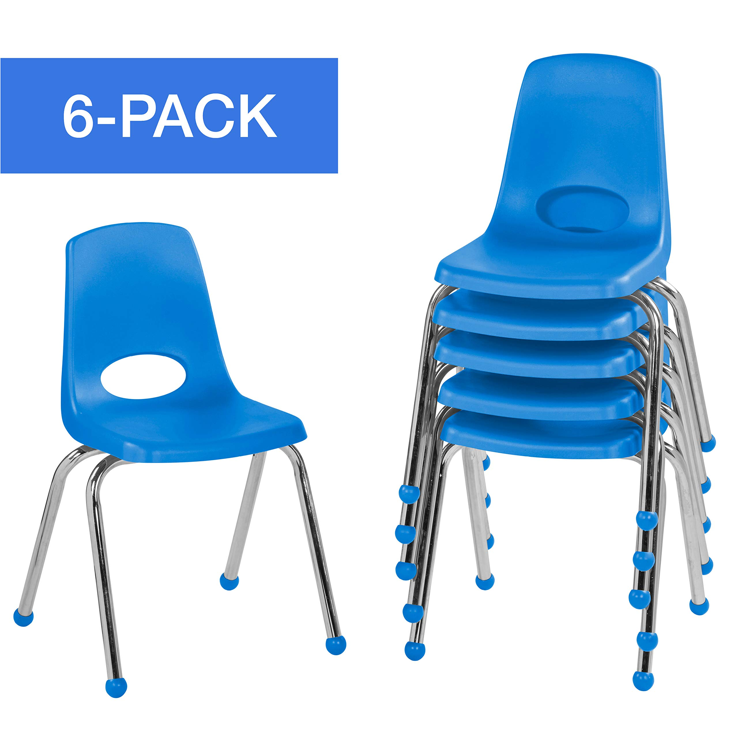FDP 16'' School Stack Chair, Stacking Student Chairs with Chromed Steel Legs and Ball Glides - Blue (6-Pack) by Factory Direct Partners