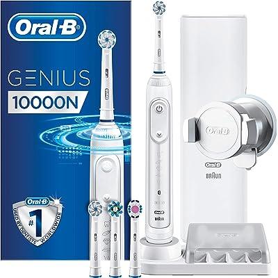 Oral-B Genius 10000N Sensi Ultrathin - Cepillo Eléctrico, 1 Blanco Mango Conectado, 6 Modos Blanqueado, Sensible, Encías, 4 Cabezales, Funda de Viaje con Puerto USB
