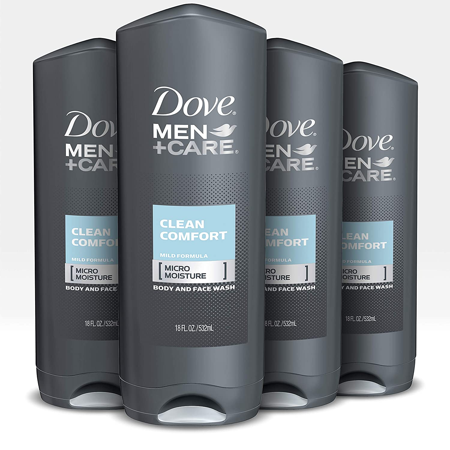 Dove Men+Care Body Wash and Shower Gel Extra Fresh 18 oz 4 Count Dermatologist Recommended Shower Gel and Bodywash Effectively Washes Away Bacteria While Nourishing Your Skin: Beauty