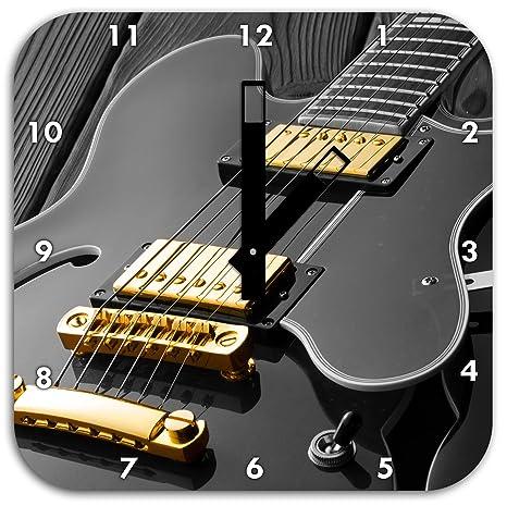 Elegante reloj de pared guitarra eléctrica negro/blanco, con los manos cuadradas y los