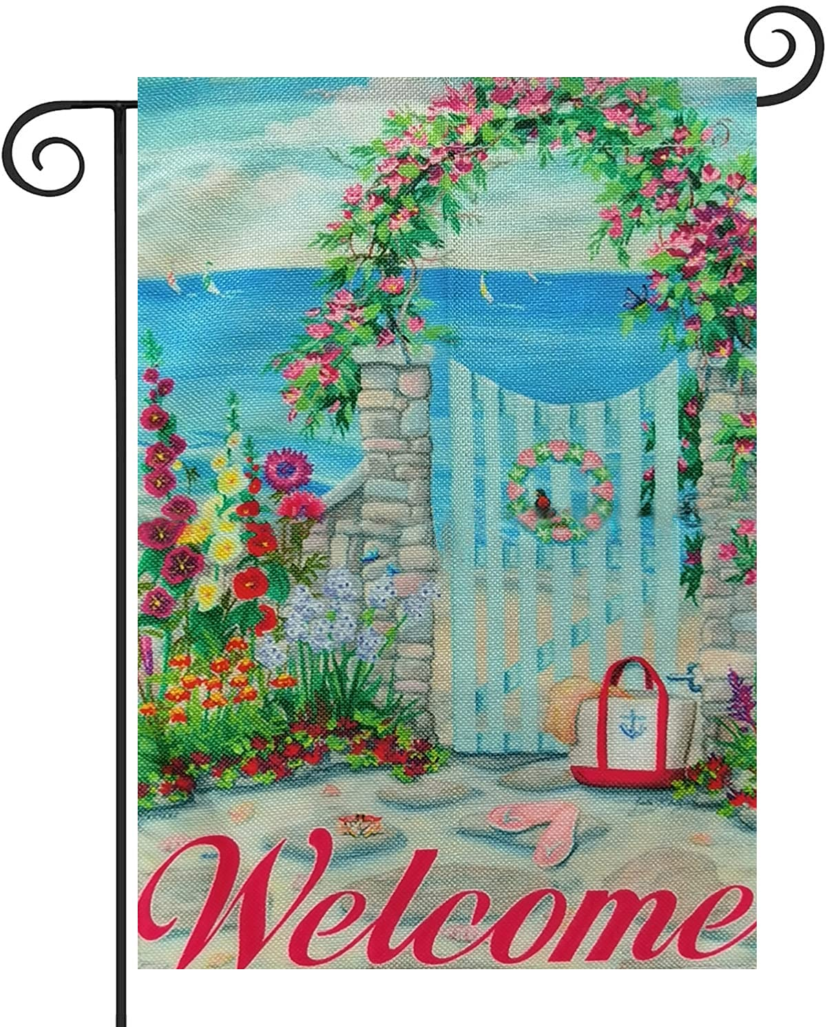 Welcome To Our Seaside Cottage Summer Garden Flag 12×18 Inch Double Sided Vertical Yard Outdoor Decoration