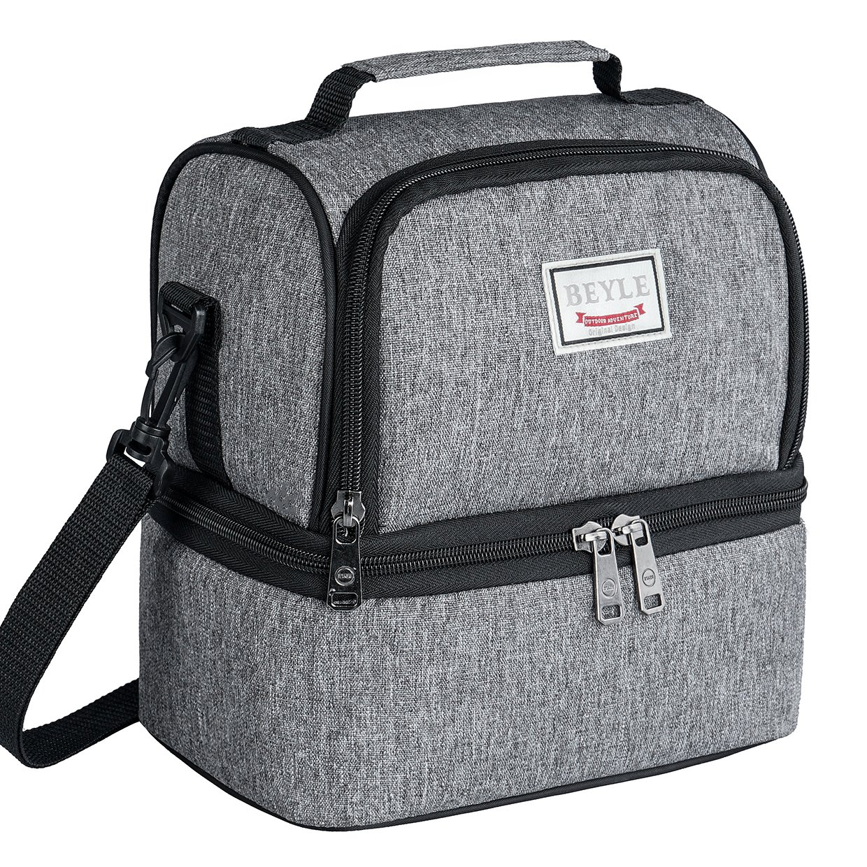 Lunch Box, Beyle Insulated Lunch Bag for Men & Women Kid, Mens Large Refrigerated Lunch Box Cooler Tote Bag, Double Deck Cooler (Grey) (Black)
