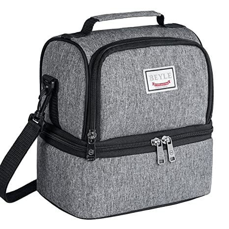 a27668b9d53c Lunch Box, Beyle Insulated Lunch Bag for Men & Women Kid, Mens Large  Refrigerated Lunch Box Cooler Tote Bag, Double Deck Cooler (Grey)