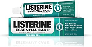 Listerine Essential Care Original Gel Fluoride Toothpaste, Prevents Bad Breath and Cavities, Powerful Mint Flavor for Fresh Oral Care, 4.2 oz