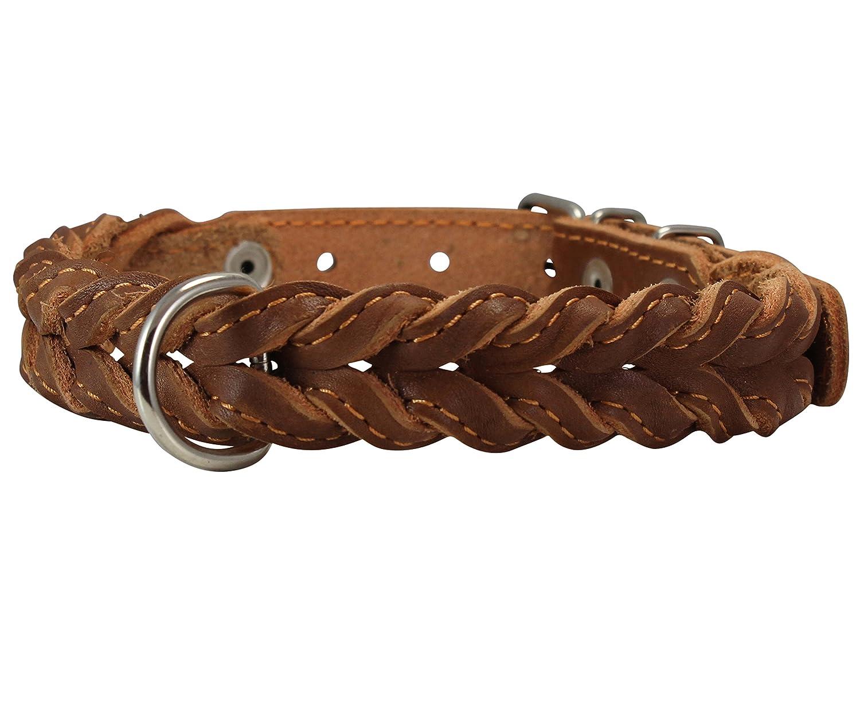 Genuine Leather Braided Dog Collar 17 -21  Neck, 1  Wide, Brown