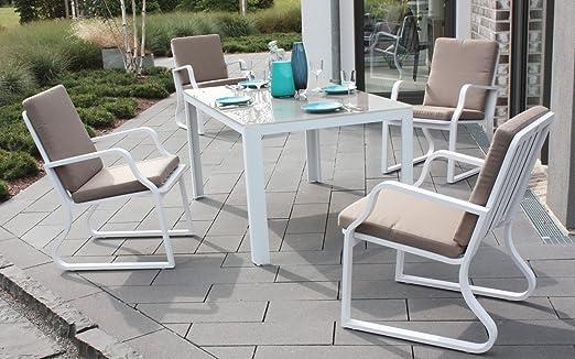Juego de muebles de jardín Malibu aluminio asiento Grupo Mobiliario en color blanco con Cojín: Amazon.es: Jardín