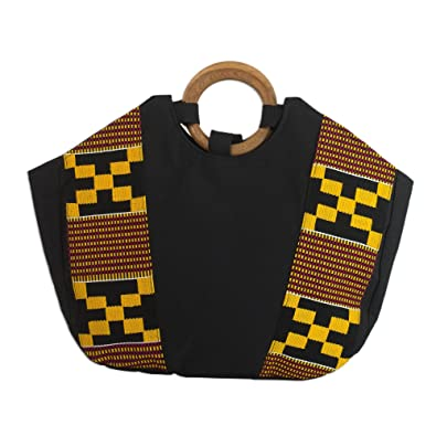 f5d2aee0240b Image Unavailable. Image not available for. Color  NOVICA Yellow Cotton Kente  Tote Handbag ...