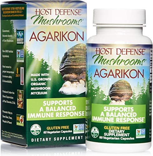 Host Defense, Agarikon Capsules, Full Spectrum of Constituents, Mushroom Supplement, Vegan, Organic, 60 Capsules 60 Servings