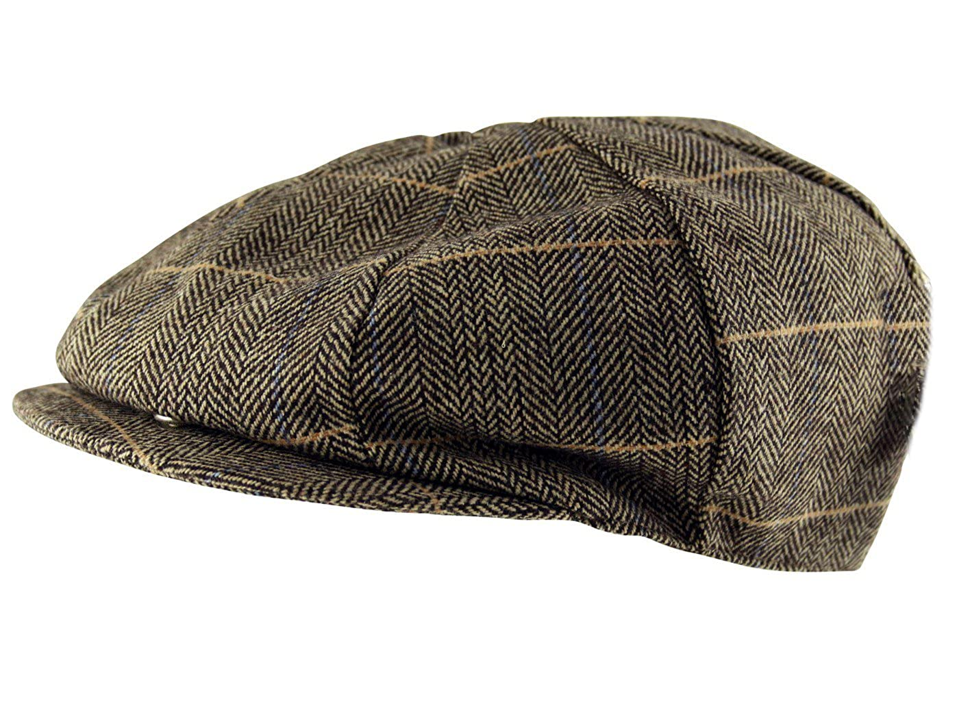 4c40f86868b Itzu Hats Newsboy Gatsby Flat Cap Check Herringbone in Brown
