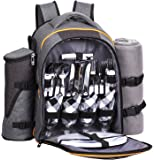 HapTim - 4 Person Picnic Backpack with Stainless Steel Utensils, Oversized Water Resistent Fleece Blanket,Big Cooler Compartment, Detachable Wine Bottle Holder, Good for Picnic Time (Gray-Olive) …