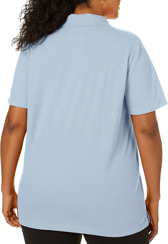 Erika Plus Leslie Solid Short Sleeve Polo 1X Bliss Blue