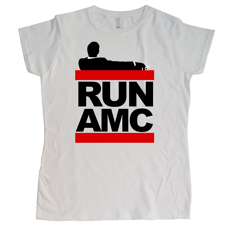 Stooble Womens's Run AMC White T-Shirt, Size M Stooble - 1ClickPrint