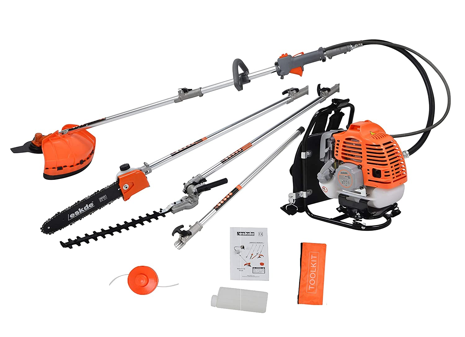 eSkde BP52-S8KIT 5 in 1 Back Pack 52cc Petrol Garden Multi Tool System with Brushcutter/Strimmer / Grass Chainsaw/Hedge Trimmer and Extension Pole, Orange and Grey