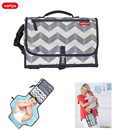 KAMYA Portable Baby Diaper Changing Station, Waterproof Padded Travel Pad with Strap and Clip, 2 Packets (Grey)