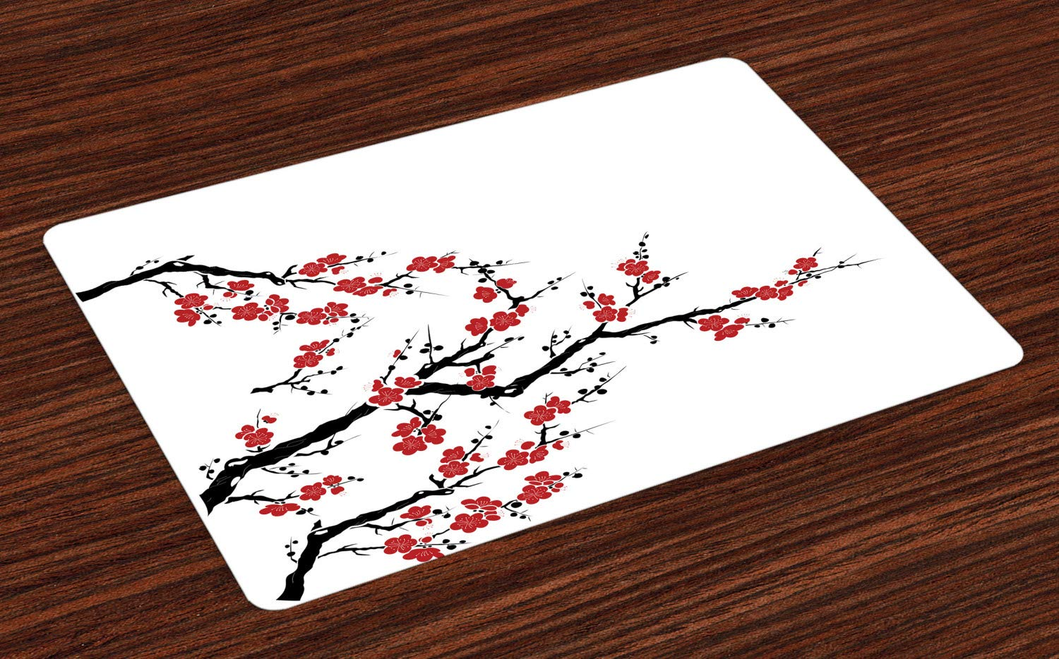 Simplistic Cherry Blossom Tree Asian Botanic Themed Pattern Fresh Organic Lines Washable Fabric Placemats for Dining Room Kitchen Table Decor Lunarable Japanese Place Mats Set of 4 Cinnamon Red