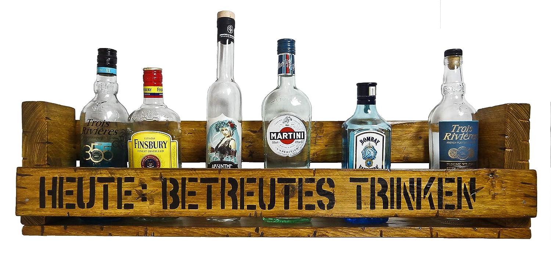 Heute : Betreutes Trinken SHaBBY ViNTaGe PaLeTTeNReGaL (HxLxT: 23x8ox8, 5cm) im Frachtkisten Style aus Echtholz ideal als Weinregal oder Wandbar personalisierbar
