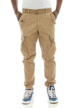 290eb9042cc686 PJ Mark Men's Slim Fit Twill Belted Cargo Pants-Khaki-38/32 at Amazon Men's  Clothing store: