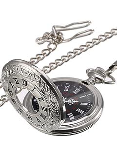 Clásico números Romanos Reloj de Bolsillo de Cuarzo con Cadena de Plata